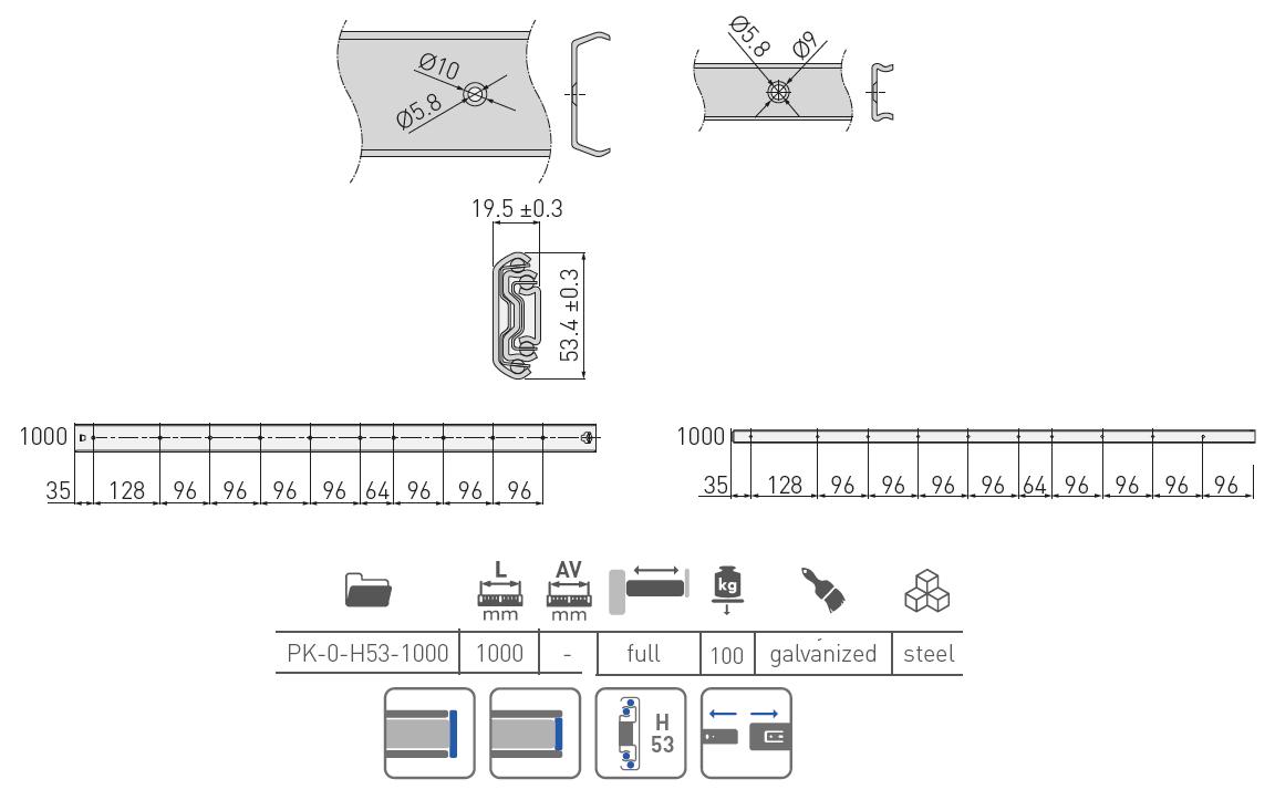 Guida a sfera ad estrazione totale 100cm - GTV