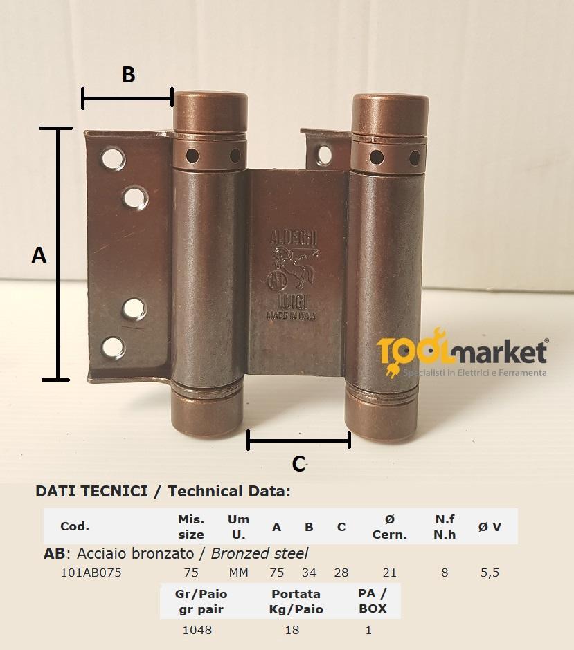 Cerniera Bommer doppia azione 75mm acc.bronzato