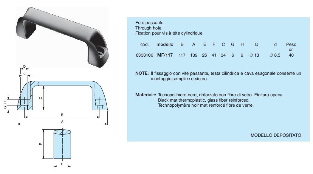 Maniglia per macchine utensili MF Gamm