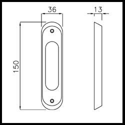 maniglia incasso c/foro da applicare per porta scorrevole