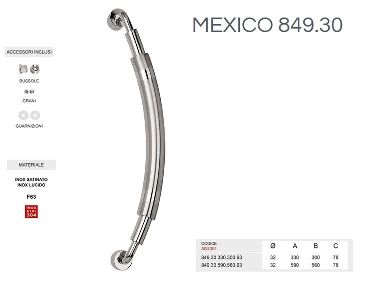 Maniglione in acciaio INOX SATINATO AISI 304 modello MEXICO 849.30 da 590mm