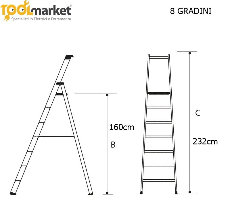 Scala domestica modello da 4 a 10 gradini
