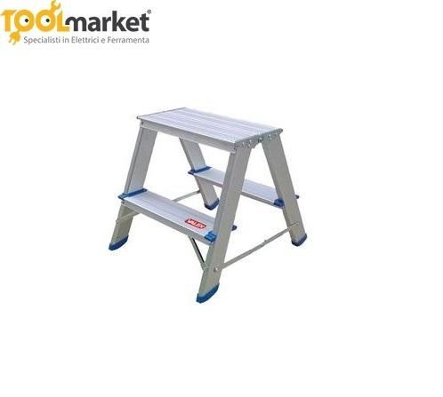 Scaletta doppia in alluminio 2 gradini VALEX