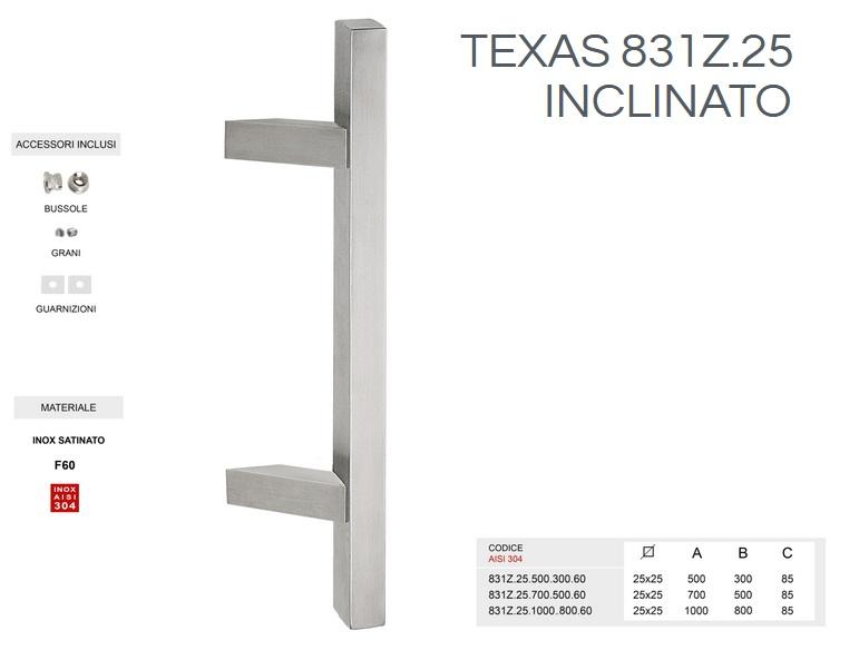 Maniglione in acciaio inox satinato AISI 304 modello TEXAS 831Z.25 inclinato da 1000mm