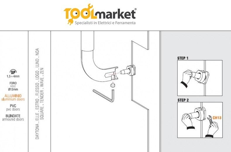 Fissaggio per maniglione non oassante singolo KIT NP2 - COLOMBO