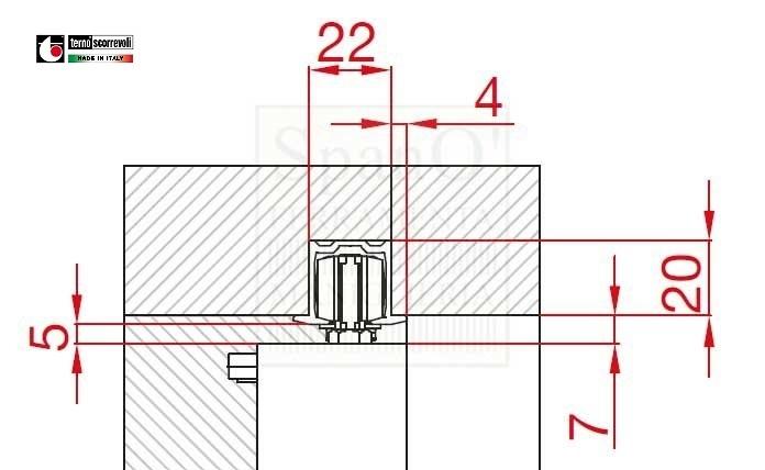 Binario da cm150 per porte libro filo bronzato