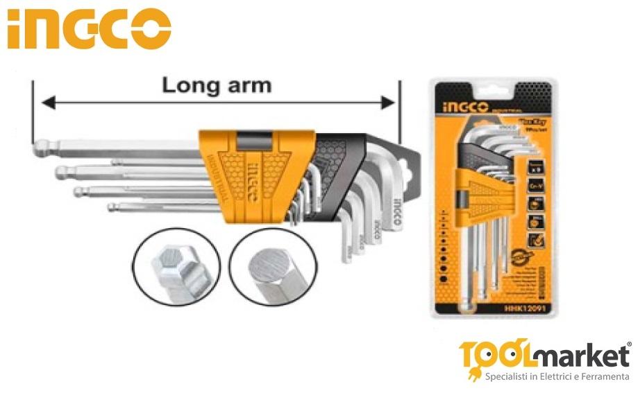 Set 9 chiavi esagonali INGCO ballpoint