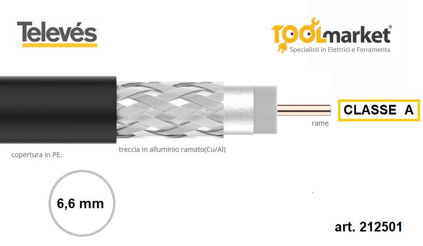 Cavo TV-SAT Televes 6mm Classe A polietilene per esterni
