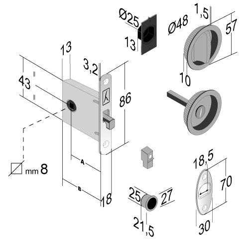 Kit maniglia tonda con serratura cromo satinato modello HON - BONAITI
