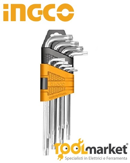 Set 9 chiavi torx INGCO con foro corte