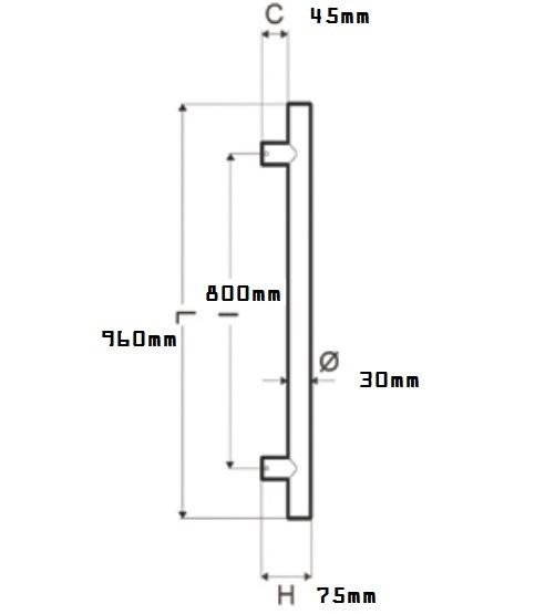 Maniglione Kd30-80 inox