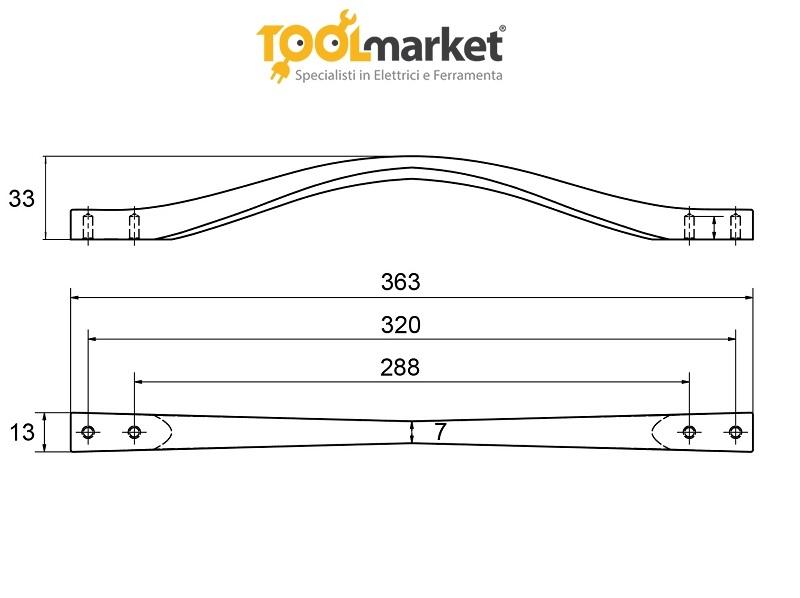 Maniglia moderna per mobili E6821/320 METAL STYLE