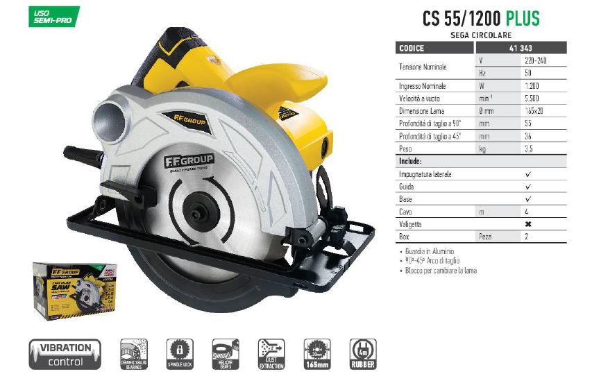 Sega circolare semi professionale modello CS 55/1200 PLUS - FF GROUP