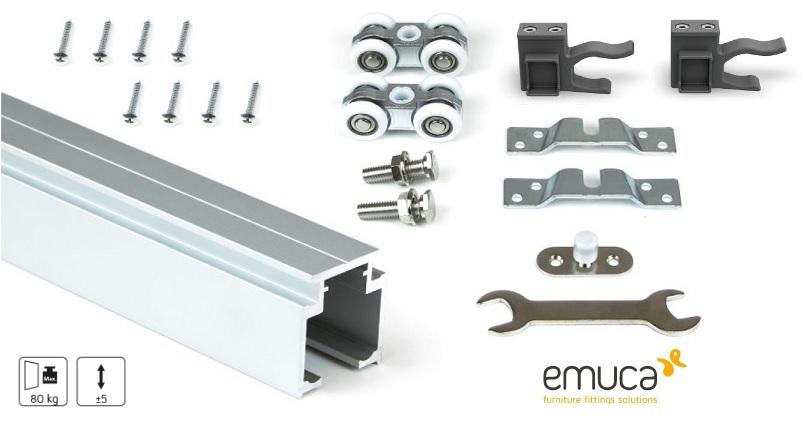 Kit binario più carrelli per porte scorrevoli da 1,95mt / 80kg  RAILWAY - EMUCA