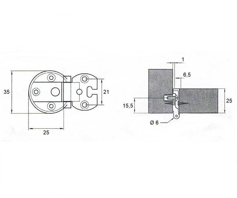Cerniera per mobili in luce scodellino da 35Ø - VI.TEL