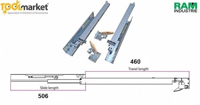 Guide ad estrazione totale push e chiusura ammortizzata Q23 Ram Industrie