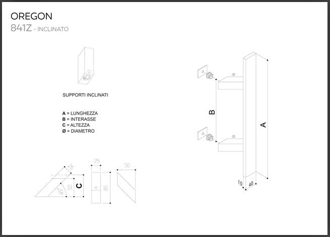 Maniglione in acciaio inox SATINATO AISI 304 modello OREGON 841Z inclinato da 500mm