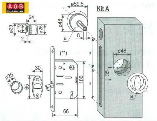 Kit maniglie porte scorrevoli e serratura Scivola
