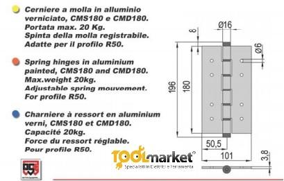 Cerniera a molla azione singola in alluminio argento