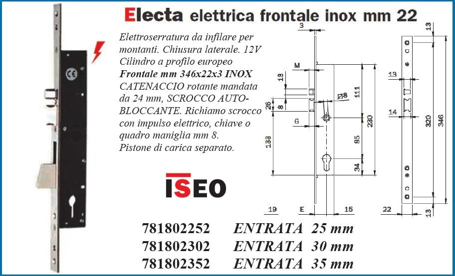 Serratura montante elettrica Iseo 781802