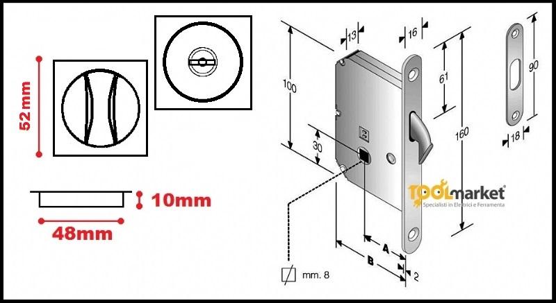 Kit maniglie quadre e serratura per porte scorrevoli