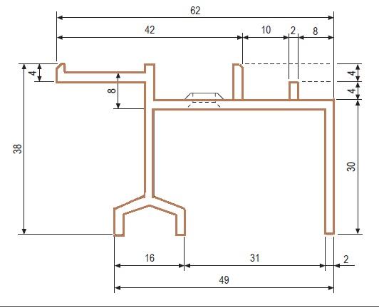 Guida super  profilo di copertura per spessore da 65 a 74 mm  AGB G007360202 da mt 3