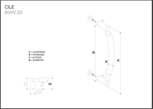Maniglione in acciaio inox modello CILE 849V.30
