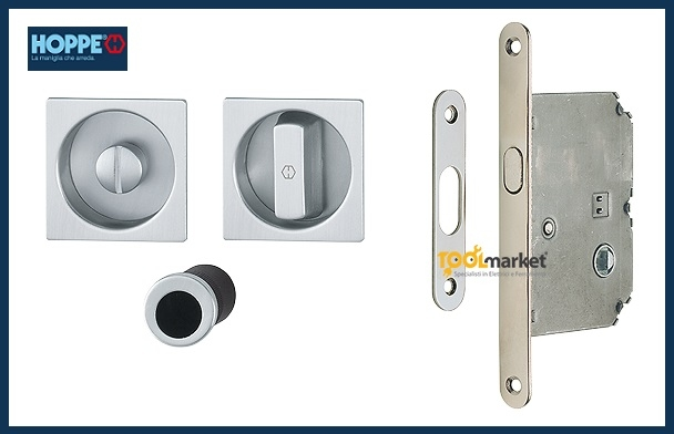 Kit maniglie quadre con serratura Spazio kit1 - HOPPE
