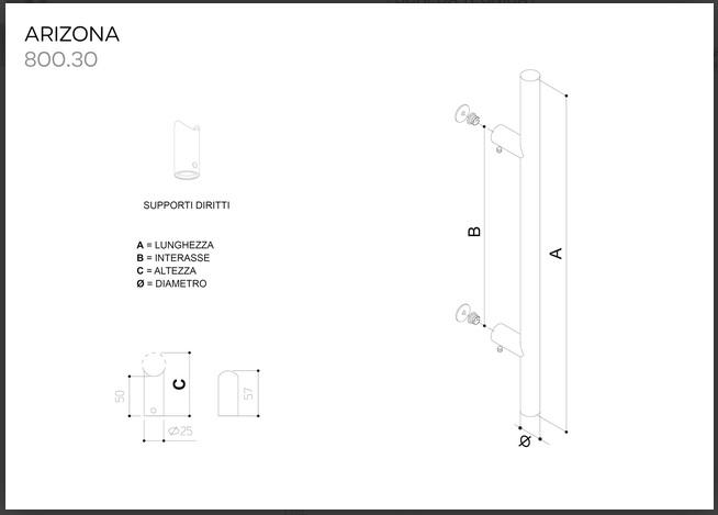 Maniglione in acciaio inox modello ARIZONA 800.30 da 500mm