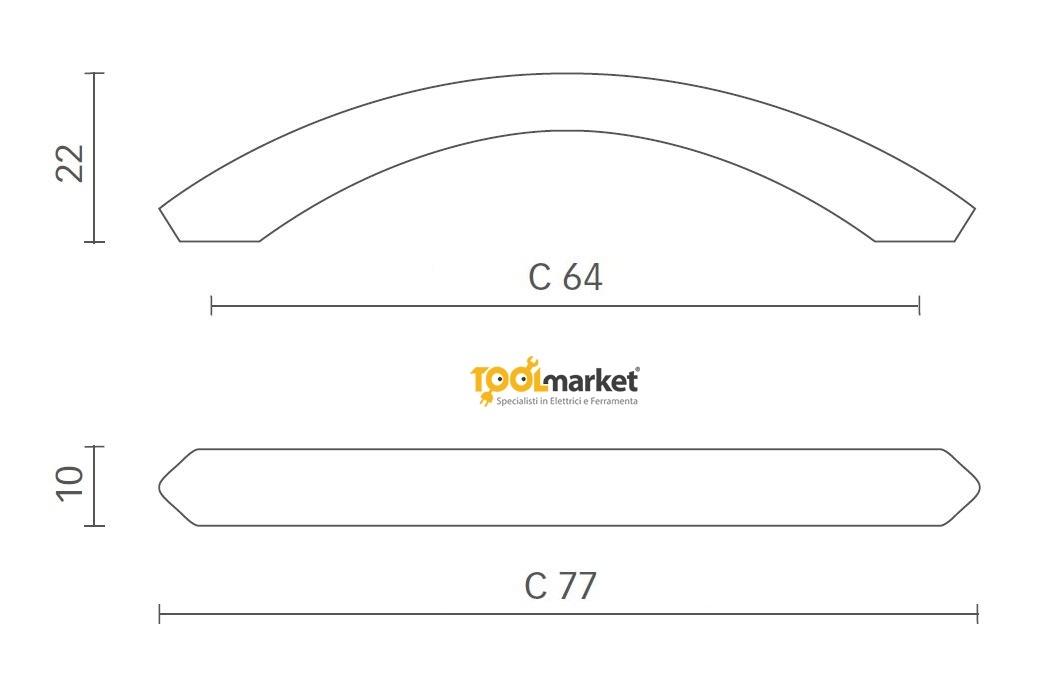 Maniglia per mobili in zama nichel satinato art 3075 MITAL