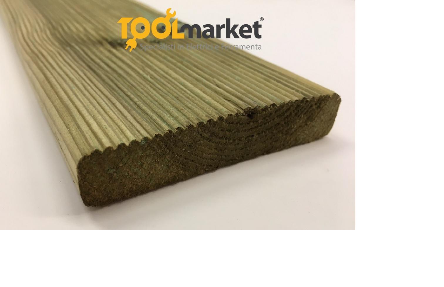 Decking pavimento per esterno in Pino impregnato da 20 mm x 90 mm x 2400 mm