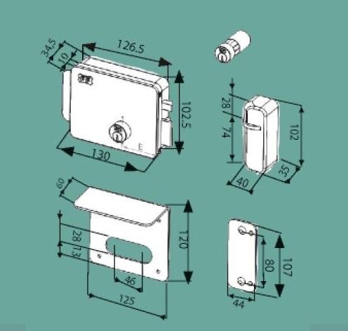 FF serratura elettrica con elettromagnete a bobina singola e maniglia integrata in acciaio p24