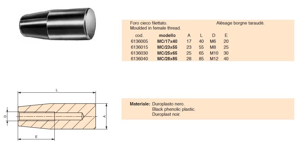Manopola cilindrica filettata Gamm