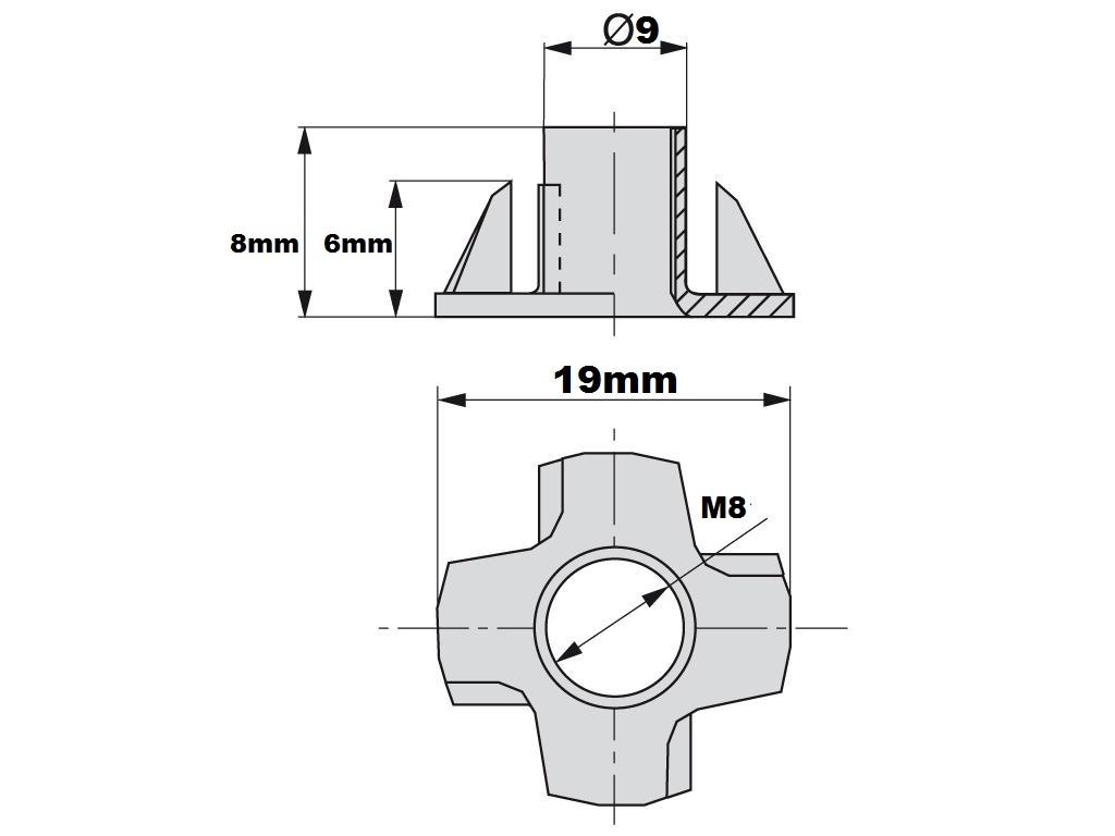 Fondello ragno M6-8-10 pz 10