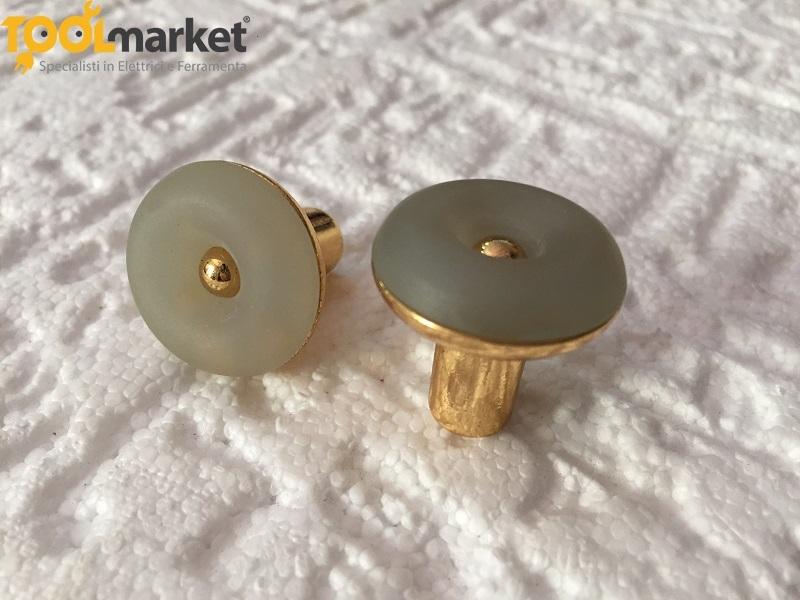 Pomello per mobili con finitura in oro e azzurro art.325B MITAL