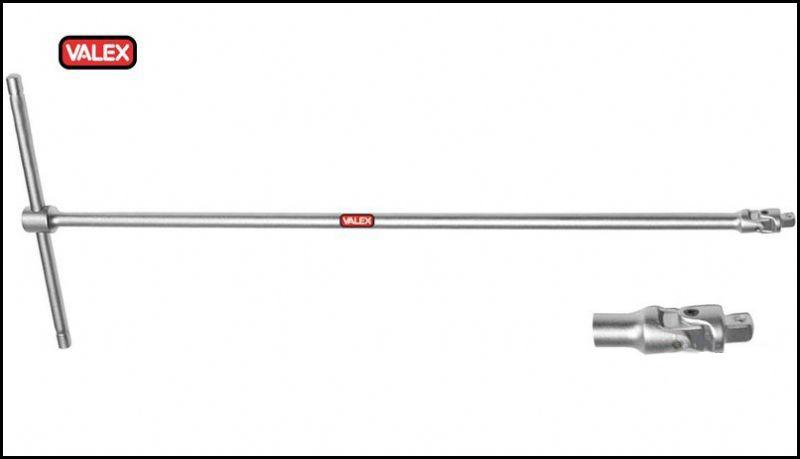 Chiave a T snodata con attacco quadro CRV - VALEX
