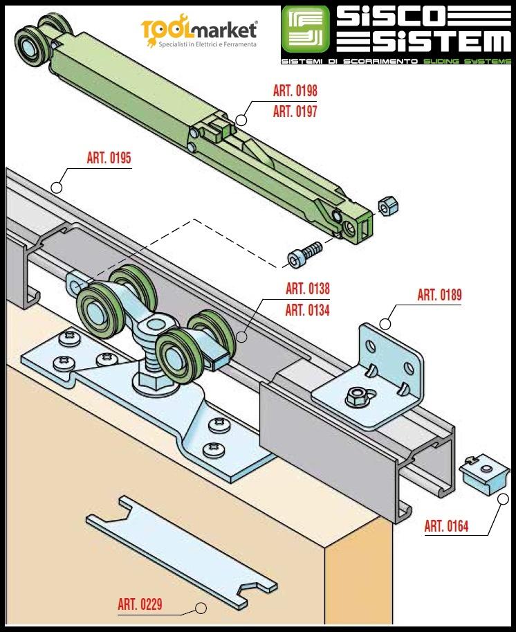 Ammortizzatore soft per scorrevoli Sisco serie 100