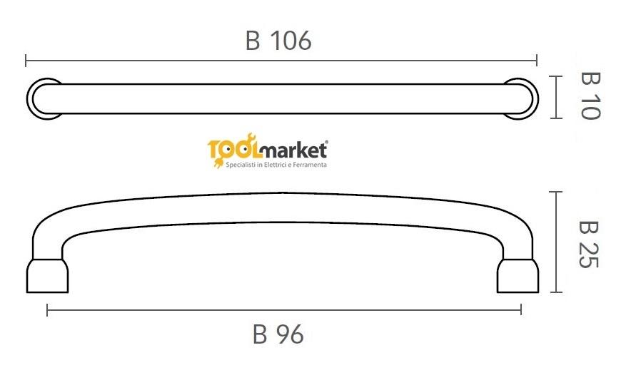 Maniglia per mobili in zama eco nichel 96mm art.3191 MITAL