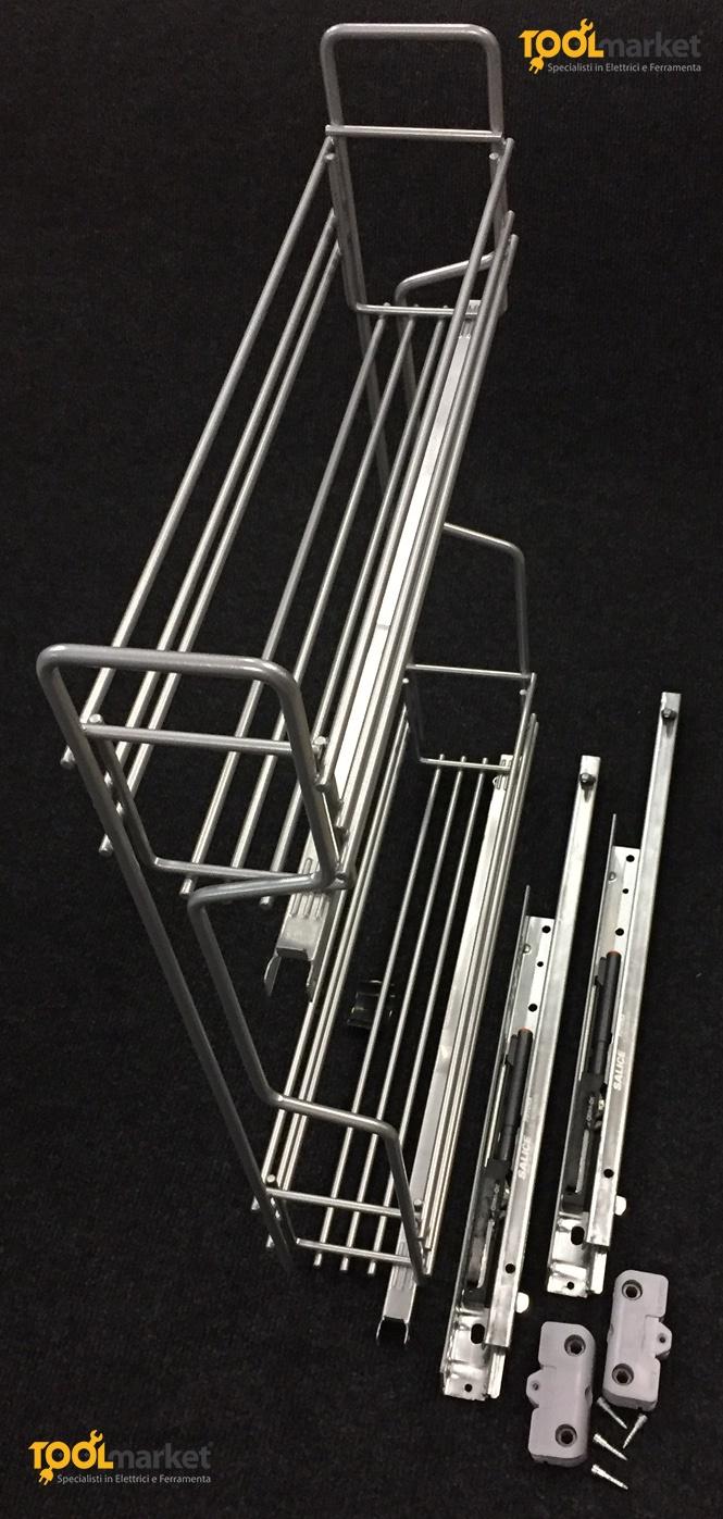 Cestello in filo di acciaio cm10 con guide laterali