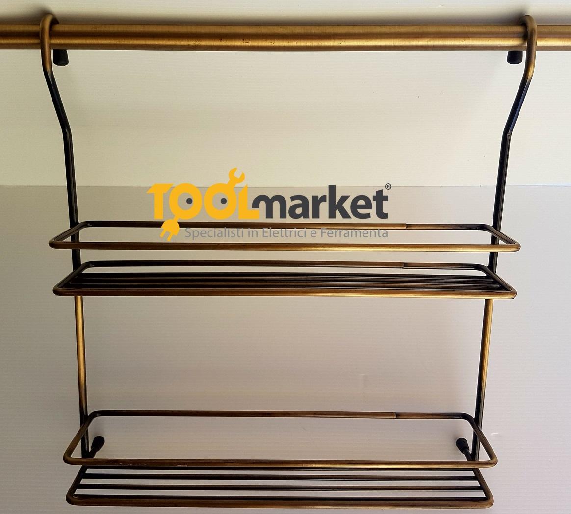 Cestello portaspezie 2 piani per tubo bronzato
