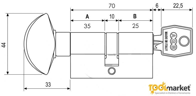 Cilindro con pomolo cromo opaco modello 620 AGB