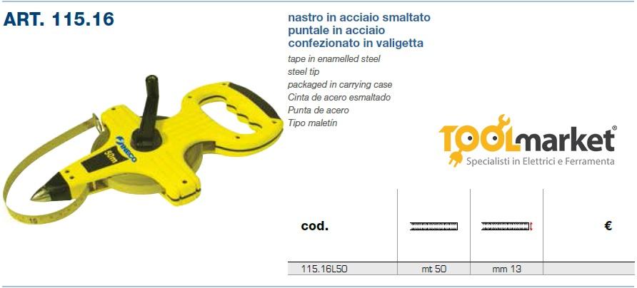 Rotella metrica 50mt INECO nastro acciaio