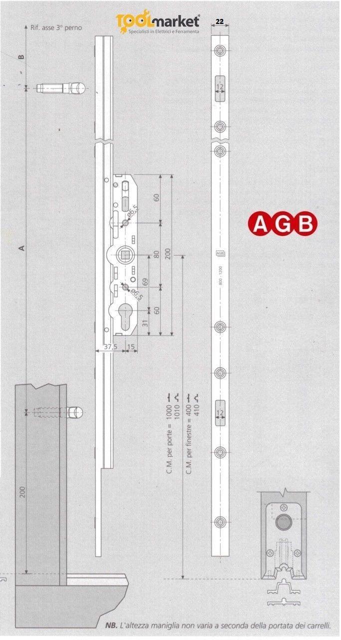 Serratura alzante scorrevole AGB G00737