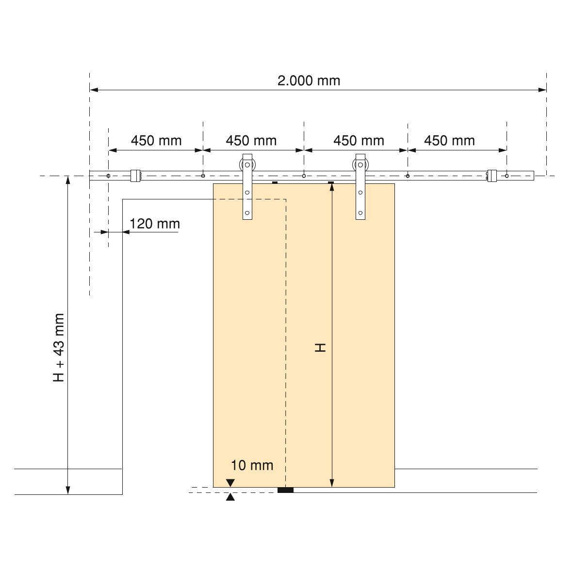 Kit rustico ammortizzato da 2mt portata 60kg - EMUCA
