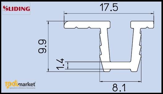 Binario incasso per scorrevoli 035-045