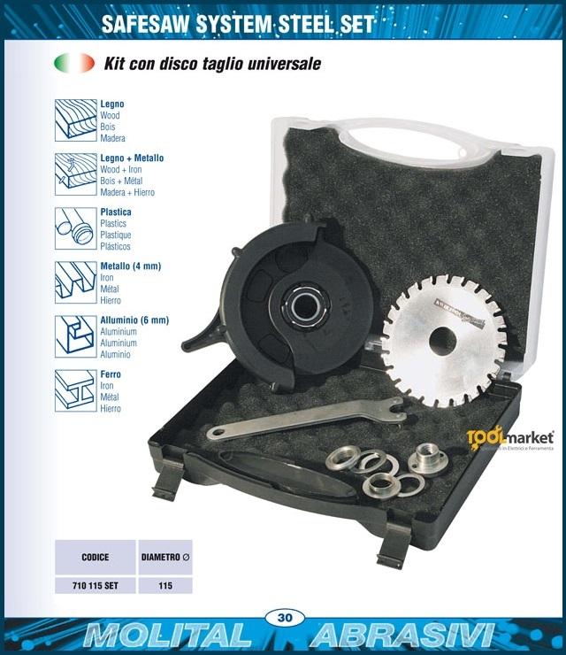 Kit SafeSaw taglio universale 115mm per smerigliatrice