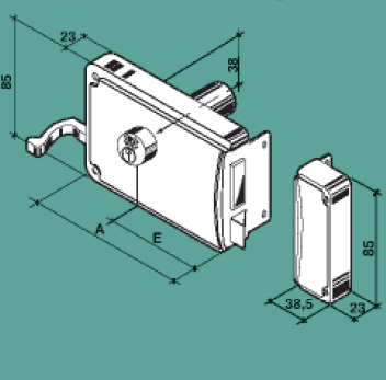 FF serratura zincata con scrocco a due mandate per ferro p27