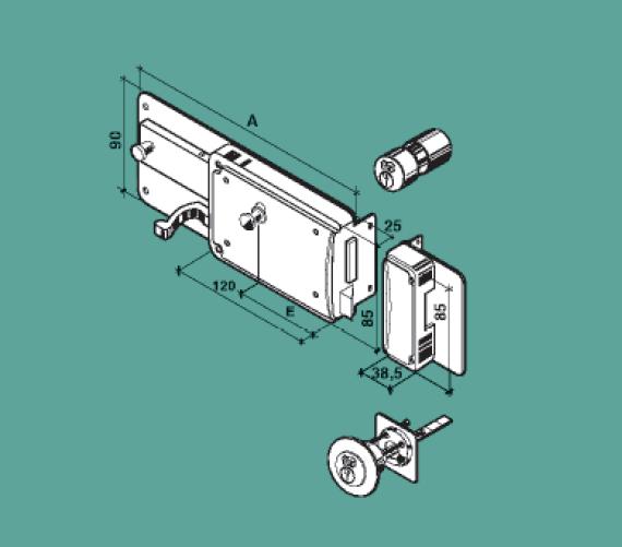 FF serratura ferroglietto verniciata per legno con scrocco P65