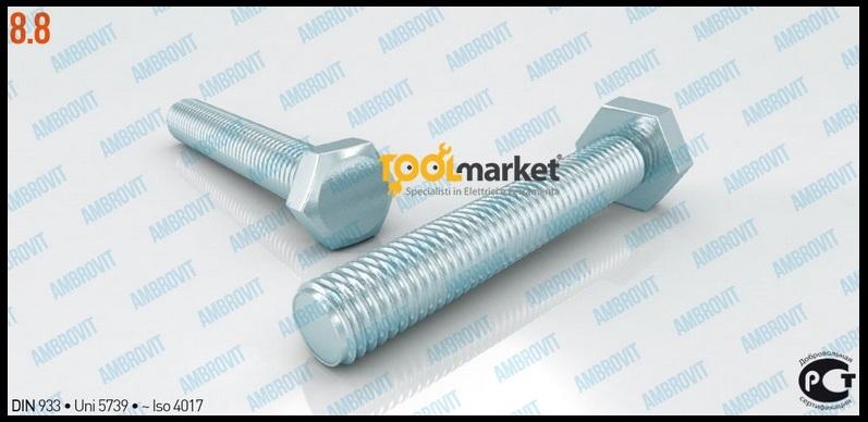 Bulloni testa esagonale diametro 10mm DIN933 acciaio 8.8