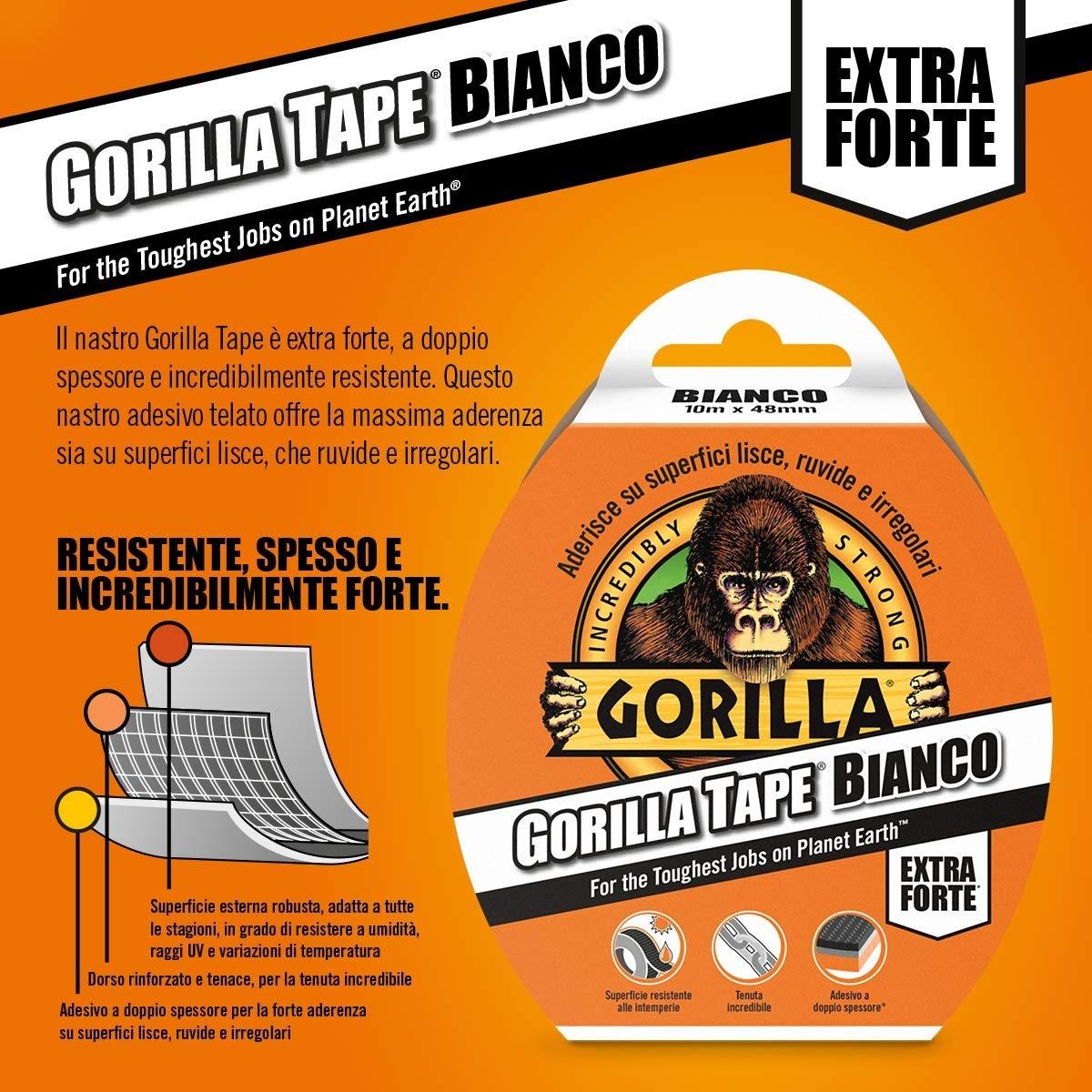 Nastro gorilla aderente a tutte le superfici colore Bianco - GORILLA